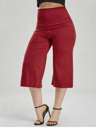 High Waisted Wide Leg Capri Pants - RED