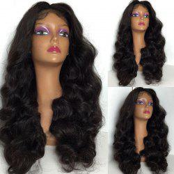 Long Center Part Shaggy Body Wave Lace Front Synthetic Wig - BLACK