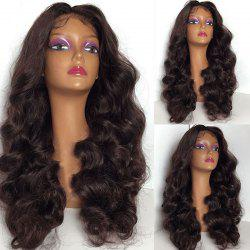Long Center Part Shaggy Body Wave Lace Front Synthetic Wig - BROWN