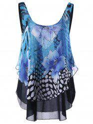 Floral Open Back Sleeveless Layered Blouse - BLUE