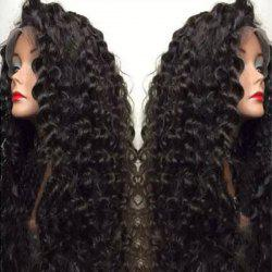 Ultra Long Side Bang Fluffy Deep Curly Lace Front perruque synthétique - Noir