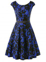 Lace Insert Mini Skater Dress - BLUE