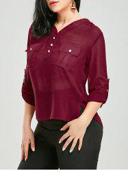 High Low Pockets Long Sleeve Blouse