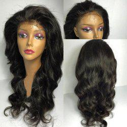 Long Fluffy Free Part Wavy Lace Front Synthetic Wig - BLACK