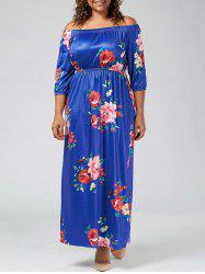 Plus Size Off The Shoulder Floral Long Beach Dress
