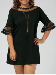 Plus Size Voile Lace Panel Flare Sleeve Mini Dress