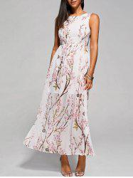 Floral Blossom Maxi Chiffon Evening Dress - WHITE