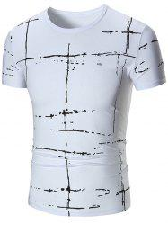 Allover Painted Short Sleeve T-shirt - WHITE 3XL