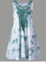 Cutwork Tie Dye Sleeveless Dress - GREEN