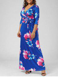 Empire Waist Floral Floor Length Plus Size Dress - Blue - 3xl