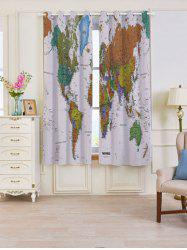 2 Panels Blackout World Map Print Window Curtains - COLORFUL W53 INCH * L63 INCH