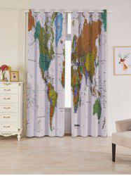 2 Panels Blackout World Map Print Window Curtains -