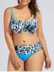 Leopard Underwire Push Up Plus Size Bikini