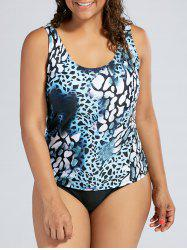 Plus Size Padded Leopard Slimming Tankini Swimsuit