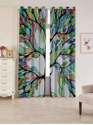 Life of Tree Print Blackout 2 PCs Window Curtains