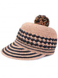 Pom Ball Rhombus Striped Baseball Cap