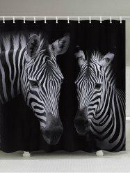 Zebra Pattern Fabric Waterproof Bathroom Shower Curtain