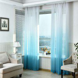 1PC Transparent Gradient Color Voile Window Curtain - Bleu clair Largeur59pouces*Longeur98.5pouces