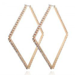 Rhinestoned Geometric Hoop Earrings
