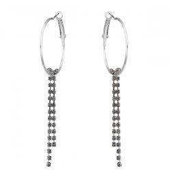 Rhinestone Fringed Circle Hoop Drop Earrings