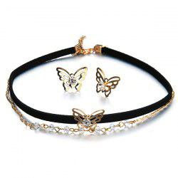 Butterfly Choker Necklace with Earring Set - BLACK