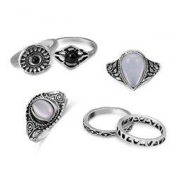 Faux Opal Vintage Teardrop Ring Set - SILVER