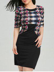 Half Sleeve Plaid Knee Length Pencil Dress
