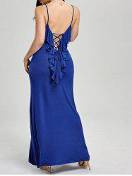 Ruffle Lace-up Slip Formal Maxi Evening Dress - BLUE