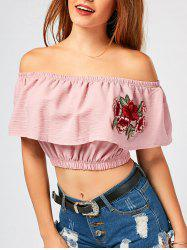 Flower Embroidery Off The Shoulder Crop Top -