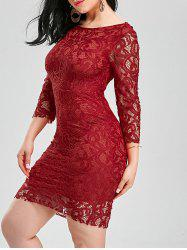 Backless Lace Tight Short Homecoming Dress - RED