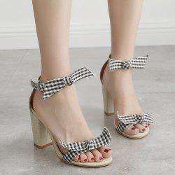 Bowknots Plaid Pattern Ankle Strap Sandals -