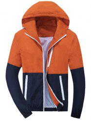 Color Block Zip Up Hooded Track Jacket - ORANGE