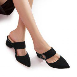 Mules Point Toe Slide Sandals - BLACK