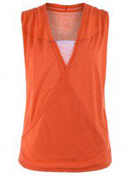 Casual Two Tone Surplice Sleeveless Top