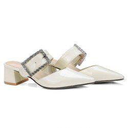Patent Leather Rhinestone Buckle Mules Slide Sandals -