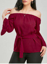 Bell Sleeve Chiffon Off The Shoulder Top