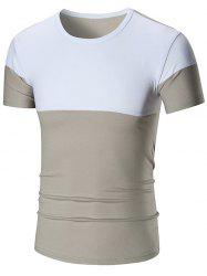 Two Tone Stretch Short Sleeve T-shirt - GRAY 4XL