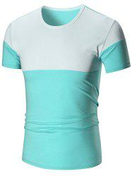 Two Tone Stretch Short Sleeve T-shirt - AZURE 3XL