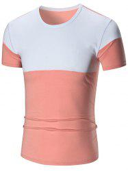 Two Tone Stretch Short Sleeve T-shirt - PINK 4XL