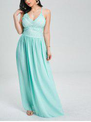 Crochet Insert Lace Up Floor Length Formal Dress