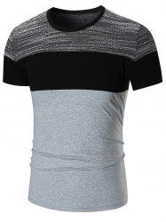 Color Block Short Sleeve T-shirt - GRAY 3XL