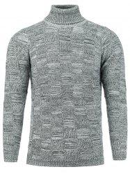 Checked Turtle Neck Knit Blends Sweater