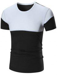 Two Tone Stretch Short Sleeve T-shirt - BLACK 5XL