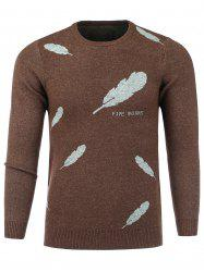 Feather Print Crew Neck Stretchy Sweater