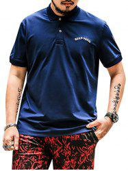 Plus Size Embroidered Polo Shirt - DEEP BLUE