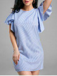 Striped Ruffle Cold Shoulder Dress