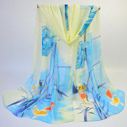 Gossamer Ink Wash Painting Lotus Printed Scarf