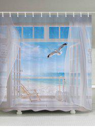 Beach Balcony Fabric Waterproof Bathroom Shower Curtain - WHITE