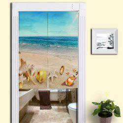 Cotton Linen Beach Scenery Door Curtain - BLUE