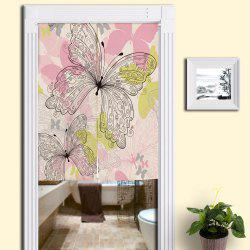 Butterflies Print Cotton Linen Home Door Curtain